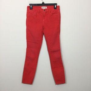 Madewell 24 Red Skinny Skinny Ankle Corduroy Pants